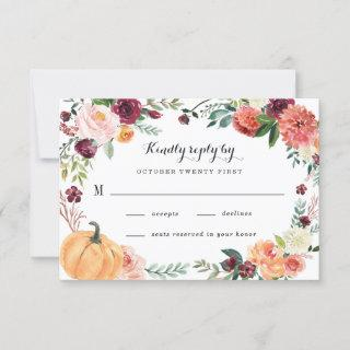 Pumpkin Elegant Fall Floral Rustic Themed Wedding RSVP Card
