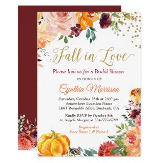 Pumpkin Fall in Love Fall Floral Bridal Shower Invitations