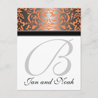 Pumpkin Shimmer Damask Wedding RSVP