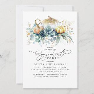 Pumpkins Succulents Greenery Fall Engagement Party