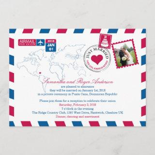 Puna Cana DR Airmail Post Wedding Reception Invitations