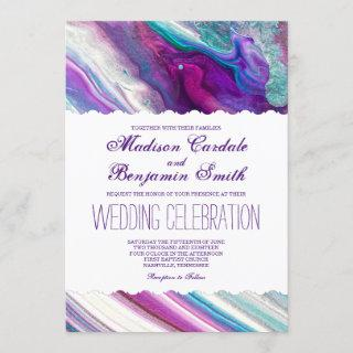 Purple and Aqua Abstract Paint Swirls Wedding Invitation