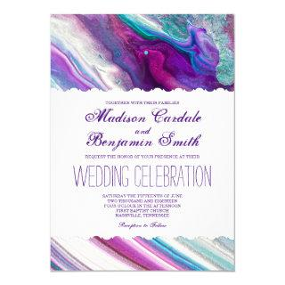 Purple and Aqua Abstract Paint Swirls Wedding Invitations