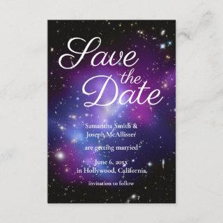 Purple and Black Space Photo Save the Date Invitation