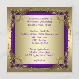 Purple and Gold 50th Wedding Anniversary Party Invitation