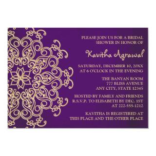 Purple and Gold Indian Inspired Bridal Shower Invitations