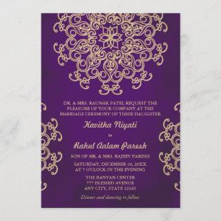PURPLE AND GOLD INDIAN STYLE WEDDING Invitations