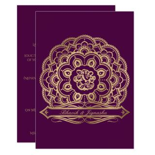 Purple and Gold Mandala Indian Wedding Invitations