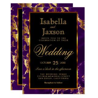 Purple and Gold Marble and Black Invitation
