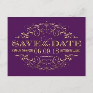 Purple and Gold | Swirl and Flourish Save the Date Announcement Postcard