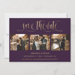 Purple and Gold Wedding Photo Save The Date