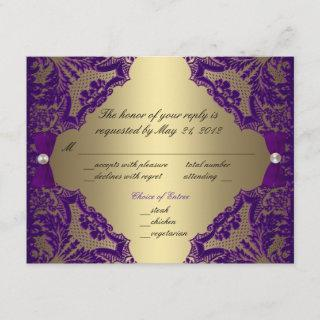 Purple and Gold Wedding RSVP