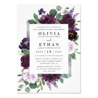 Purple and Gray Silver Watercolor Engagement Party Invitation