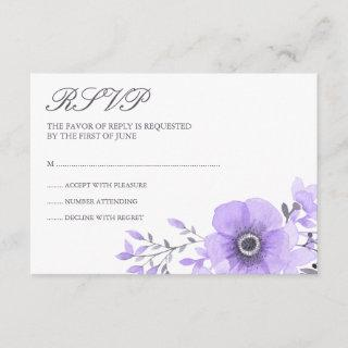 Purple and Gray Watercolor Floral Wedding RSVP
