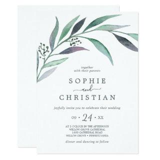 Purple and Green Eucalyptus All In One Wedding Invitations