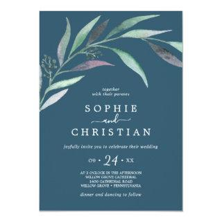 Purple and Green Eucalyptus | Blue Casual Wedding Invitation