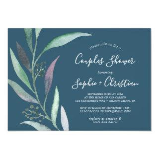 Purple and Green Eucalyptus | Blue Couples Shower Invitations