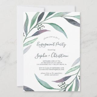 Purple and Green Eucalyptus Engagement Party Invitations