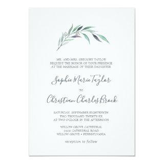 Purple and Green Eucalyptus Formal Wedding Invitations