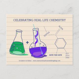 Purple and Green Save the Date Chemistry Postcards