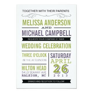 Purple and Green Typography Wedding Invitations