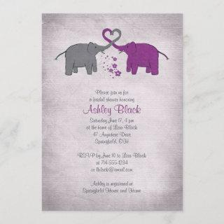 Purple and Grey Elephant Bridal Shower Invitations