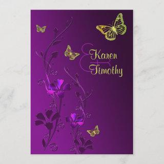 Purple and Lime Floral with Butterflies Invitation