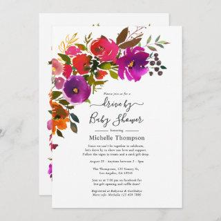 Purple and Orange Floral Drive By Shower Invitations