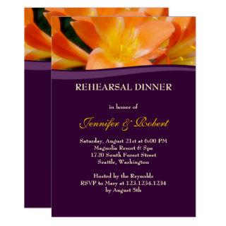 Purple and Orange Rehearsal Dinner Party Invitations