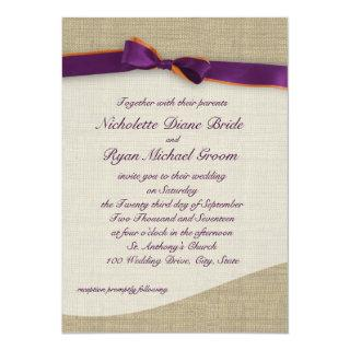 Purple and Orange Ribbon and Burlap Wedding Invitation