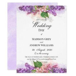 Purple and Pink Watercolor Lilacs Wedding Invitation