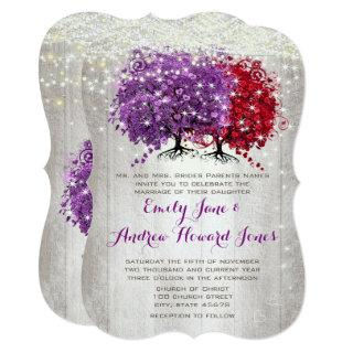 Purple and Red Heart Leaf Forest Tree Wedding Invitations