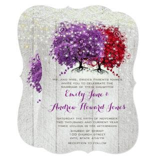 Purple and Red Heart Leaf Forest Tree Wedding Invitation