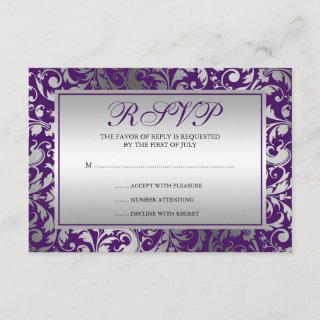Purple and Silver Damask Swirls Response Card