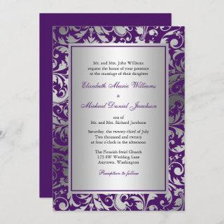 Purple and Silver Damask Swirls Wedding Invitations