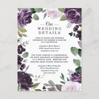 Purple and Silver Elegant Floral White Wedding Enclosure Card