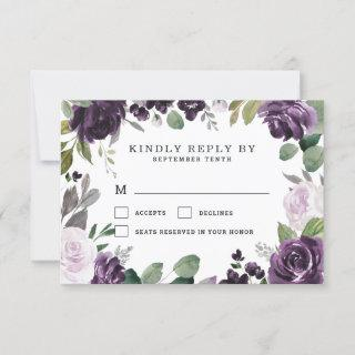 Purple and Silver Elegant Floral White Wedding RSVP Card