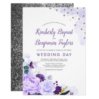 Purple and Silver | Floral Watercolor Wedding Invitations