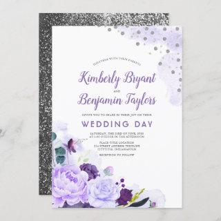 Purple and Silver | Floral Watercolor Wedding Invitation