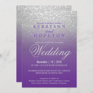 Purple and SIlver Glitter Invitation