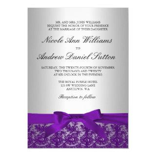 Purple and Silver Lace Wedding Invitation