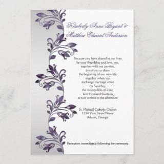 Purple and Silver Ornate Floral Swirls Weddings Invitation