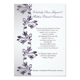 Purple and Silver Ornate Floral Swirls Weddings Invitations