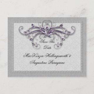 Purple and Silver Swirls Save The Date Announcement Postcard
