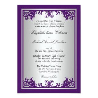 Purple and Silver Vintage Flourish Scroll Wedding Invitation