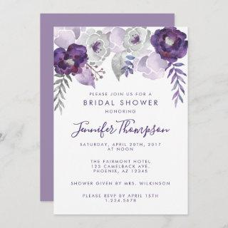 Purple and Silver Watercolor Floral Bridal Shower Invitations