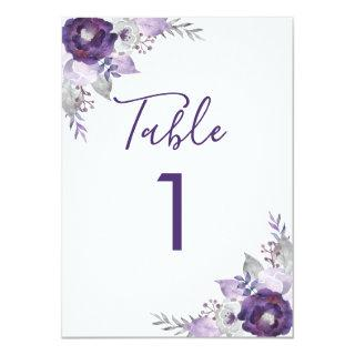Purple and Silver Watercolor Floral Table Number