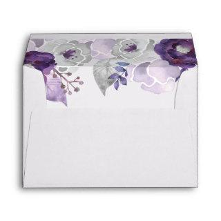 Purple and Silver Watercolor Floral Wedding Envelope