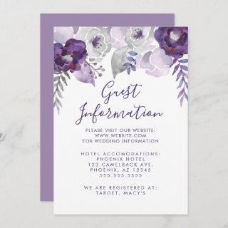 Purple and Silver Watercolor Floral Wedding Info Invitation