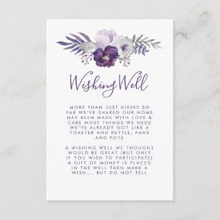 Purple and Silver Watercolor Floral Wishing Well Enclosure Card